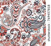 paisley ornate damask... | Shutterstock .eps vector #769457818