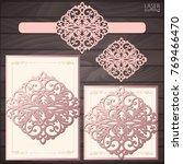 laser cut wedding invitation... | Shutterstock .eps vector #769466470