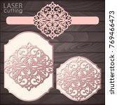 laser cut wedding invitation... | Shutterstock .eps vector #769466473