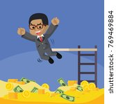 african businessman jump to his ... | Shutterstock .eps vector #769469884