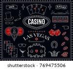 Casino theme. Decorative design elements on chalkboard. Gambling symbols. Vintage vector illustration - stock vector