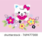 Stock vector sweet cute cat vector illustration 769477300