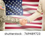 american soldier in uniform and ... | Shutterstock . vector #769489723