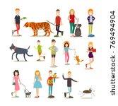 pet owners vector icon set.... | Shutterstock .eps vector #769494904