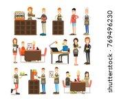 coffee house vector icon set... | Shutterstock .eps vector #769496230