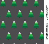 seamless christmas tree forest... | Shutterstock .eps vector #769503094