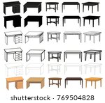 vector  isolated  desk  sketch... | Shutterstock .eps vector #769504828