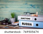 russia and sanctions concept.... | Shutterstock . vector #769505674