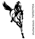 cowboy riding jumping horse... | Shutterstock .eps vector #769507954