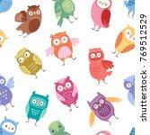 owls vector cartoon cute bird... | Shutterstock .eps vector #769512529