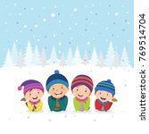 winter fun. cheerful family... | Shutterstock .eps vector #769514704