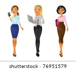 four young women in business... | Shutterstock .eps vector #76951579