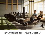 man and woman training on... | Shutterstock . vector #769524850