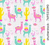 illustration of sweet llama or... | Shutterstock . vector #769531090