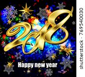 new year 2018. template. bright ... | Shutterstock . vector #769540030