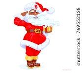 dark skinned santa claus makes... | Shutterstock .eps vector #769552138