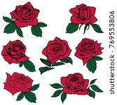 Stock vector silhouettes of roses isolated on white background vector illustration 769553806