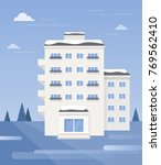 winter landscape with apartment ... | Shutterstock .eps vector #769562410