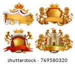 Coats of arms. King and kingdom. 3d vector emblem set | Shutterstock vector #769580320