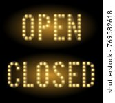 shop open and closed signs set. ... | Shutterstock .eps vector #769582618
