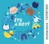 its a boy celebration  new born ... | Shutterstock .eps vector #769587304
