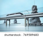 the train moving on the... | Shutterstock . vector #769589683