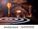 target dart with arrow over... | Shutterstock . vector #769595950