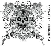 gothic coat of arms with skull  ... | Shutterstock .eps vector #769596178