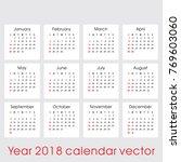 year 2018 calendar vector | Shutterstock .eps vector #769603060