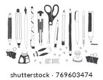 hand drawn stationery and art...   Shutterstock .eps vector #769603474