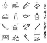 thin line icon set   plane ... | Shutterstock .eps vector #769603540