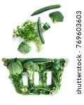 grocery basket icon with green...   Shutterstock . vector #769603603