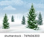 winter landscape with fir trees.... | Shutterstock .eps vector #769606303