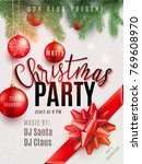 christmas party poster with... | Shutterstock .eps vector #769608970