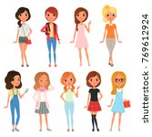 collection of cute teenager... | Shutterstock .eps vector #769612924