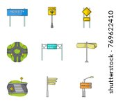 road junctions and signs and... | Shutterstock .eps vector #769622410