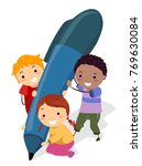 illustration of stickman kids... | Shutterstock .eps vector #769630084