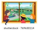 illustration of stickman kids... | Shutterstock .eps vector #769630114