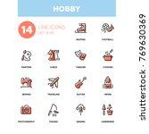 hobby   line design icons set | Shutterstock .eps vector #769630369