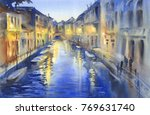 Venetian Night Lights Watercolor