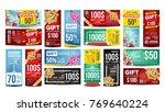 voucher gift design vector. set ... | Shutterstock .eps vector #769640224