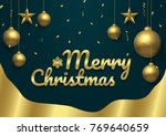 merry christmas gold premium ... | Shutterstock .eps vector #769640659