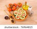 spaghetti with garlic  onion ... | Shutterstock . vector #76964815