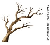Watercolor Dry Tree Isolated On ...