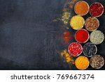 assorted spices in bowl | Shutterstock . vector #769667374