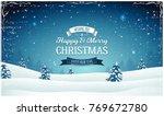 vintage christmas landscape... | Shutterstock .eps vector #769672780