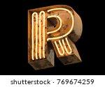 metallic orange neon font...   Shutterstock . vector #769674259