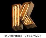 metallic orange neon font... | Shutterstock . vector #769674274