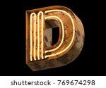 metallic orange neon font... | Shutterstock . vector #769674298