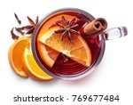 glass of hot mulled wine with... | Shutterstock . vector #769677484